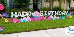 Happy Birthday Monica cupcakes and flowers