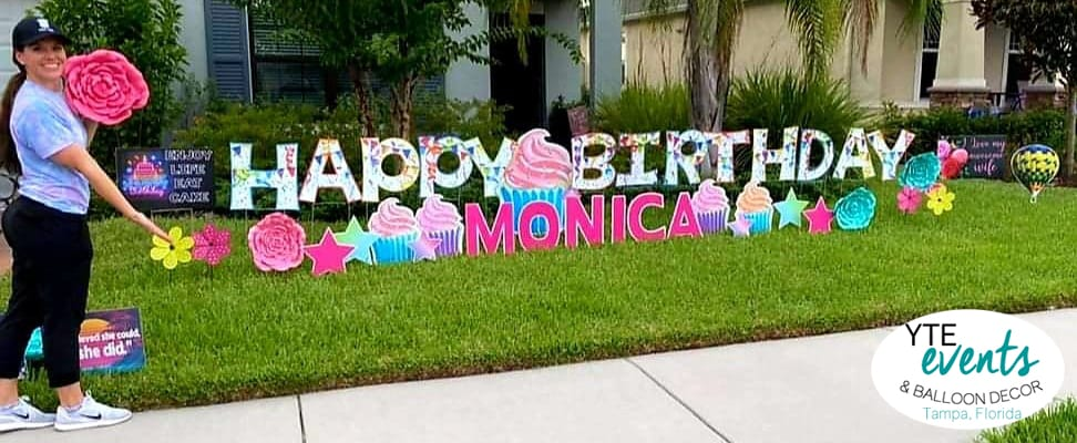 Happy Birthday Monica cupcakes and flowers