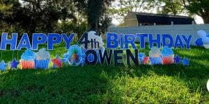 Happy Birthday Owen 4th Celebration Sponge Bob Theme with Cupcake and Star Yard Art