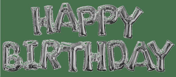 Happy Birthday Phrase Balloons Silver