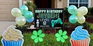 Happy Birthday Yard Signs with Cupcakes