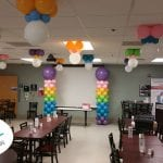 Hospital Customer Appreciation Balloon Ceiling Decor and Columns for Cafeteria