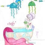 mermaid drawing in bathtub