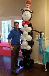 delivered balloon sculpture for cat in the hat in tampa