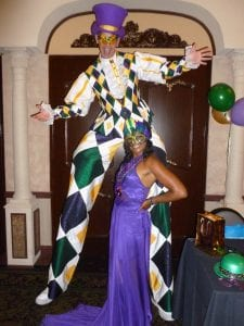 Mardi Gras Costume Stilts Entertainer