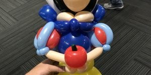 Master Balloon Artist Mr Fudge makes a princess snow white for tampa bay rays event