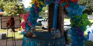 Private under the sea themed balloon arch birthday party