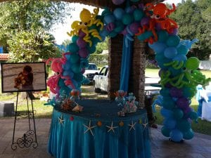 Mermaid and pirate themed birthday party with balloon decorations