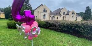 Mia fourth birthday yard art balloon decor installation pink purple lilac silver