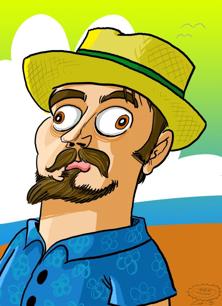 a digital caricature rendering in color of the caricature artist