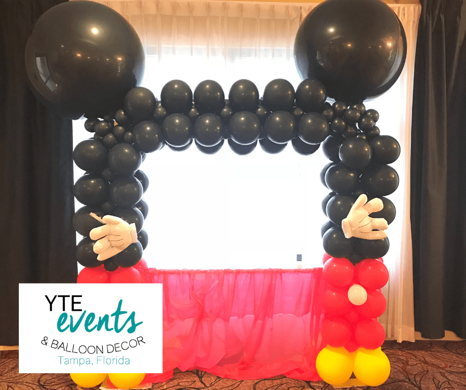 Mickey mouse balloon photo booth.