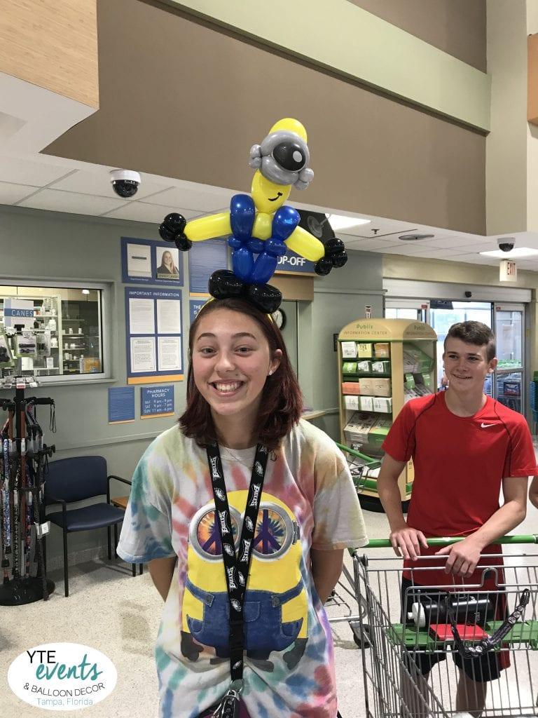 Minion Balloon Animal Headband at Publix for Boars Head Customer Appreciation Event in Tampa, Florida
