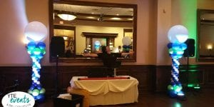 Mitzvah columns for special event with uplighting