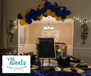 Organic balloon ceiling decor done for a private graduation celebration.