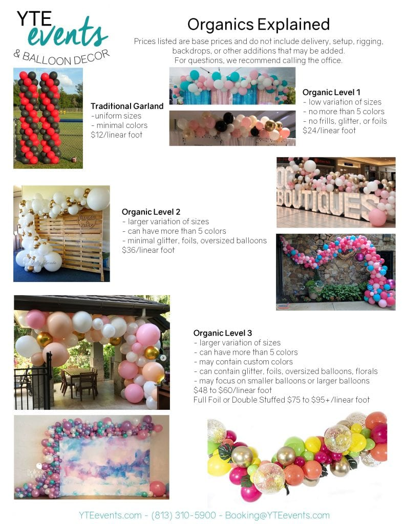 Full organic price list explained with details of pricing for 3 different levels of balloon decor