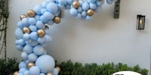 Pale Pastel Blue Balloon Arch for Baby Shower in St Pete Beach Florida