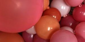 Pink organic balloon installation for Tampa Florida