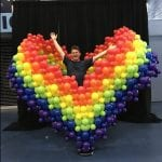 Pride Rainbow Balloon Heart Photo Opportunity for Tampa Bay Rays in St. Petersburg