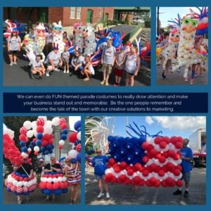 Promotional photo of a group of kids wearing balloon parade costumes and a group carrying a balloon sculpture in the shape of the American flag.