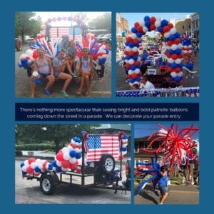 Promotional photo of various Independance Day parades and smiling families
