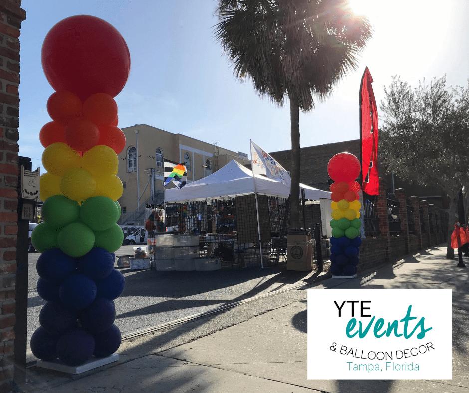 Rainbow balloon pillar for Cuban pride event.