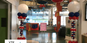 Red, white and blue balloon columns for an Independence Day event at the Children's Museum in Tampa.