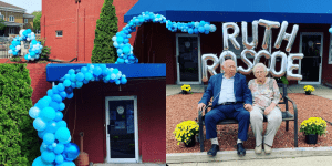 Ruth and Roscoe Celebrate 96 years as twins with balloons at local VFW