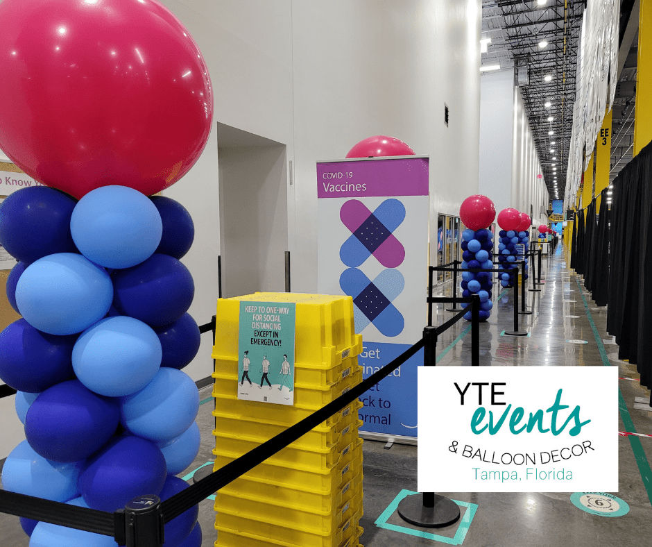 Series of balloon columns made for a vaccination event.