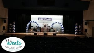 Showcase stage decorations for tampa school