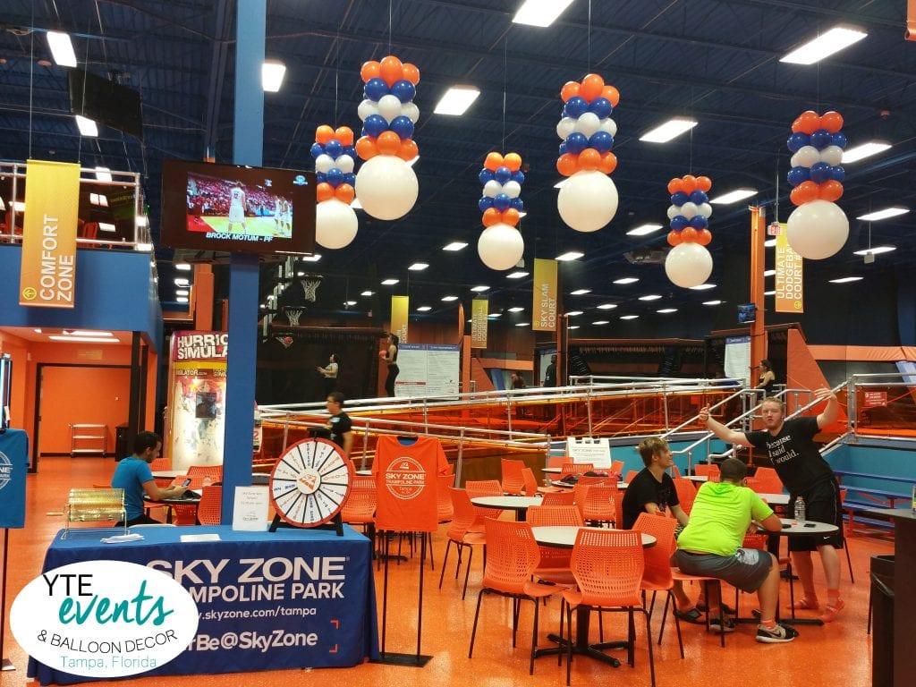 Sky Zone Balloon Decor Ceiling Orange Blue