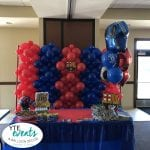 Soccer themed backdrop for childrens birthday party event and cake table decoration
