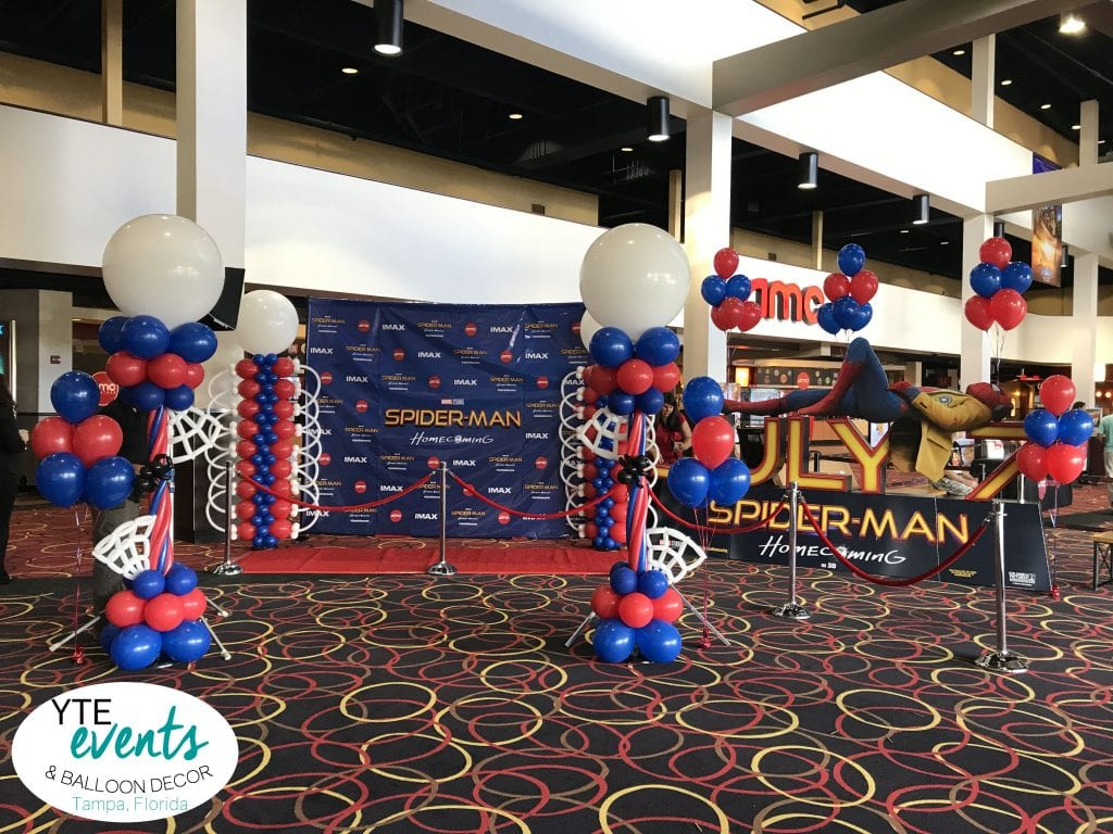 Spiderman Premier balloon decorations for AMC Veterans 24