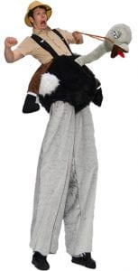 Stilt Walking explorer and balloon ostrich animal costume