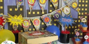 Superhero themed birthday party decorations