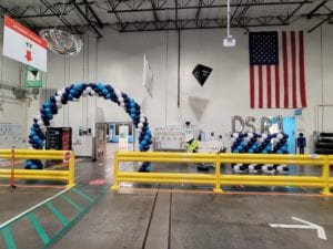 Tampa Amazon Balloon Decor Blue White Columns and Arch Corporate Event