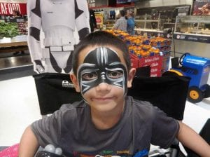 Themed face painting stormtrooper star wars