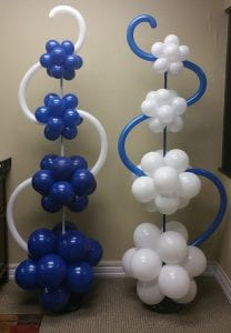 Blue and White Topiary Columns with 260 accents