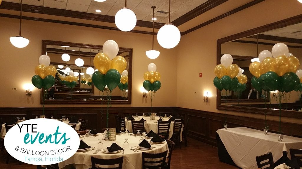 USF Balloon Bouquets of green gold white for graduation event