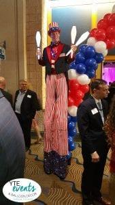 Uncle Sam stilt walking Juggler at Convention Center