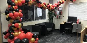University of Tampa student services office with organic balloon decorations during opening week of campus