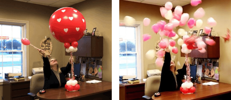 Valentines day balloon pop option with love notes