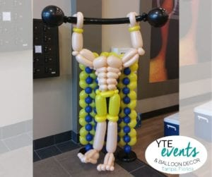 Weightlifter Balloon Sculpture LA Fitness Grand Opening Tampa Florida