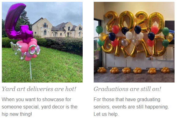 Yard Deliveries and Graduation Events