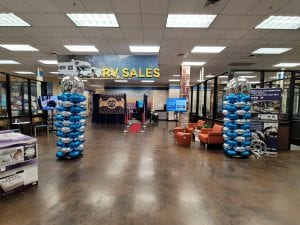 columns camping world tampa blue silver foil installation