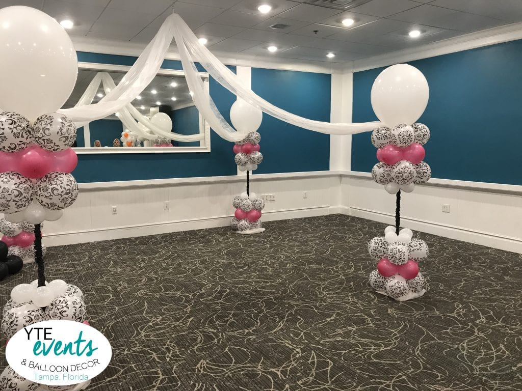 gorgeous balloon dance floor canopy with pink and white