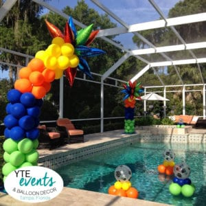installation made of pool inflatables swimming pool bday Bowman Heights YTE Events