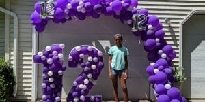 marquee number 12 balloon decor purple with organic backdrop organic arch for girl