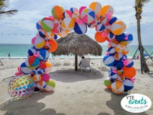 swimming pool event balloon design consisting of floaties South Westshore YTEevents